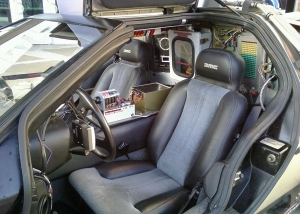 Inside view of a time-jumping DeLorean