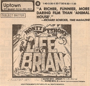 Life of Brian newspaper ad - 1979