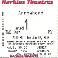 Jaws - movie ticket