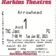 Jaws - movie ticket